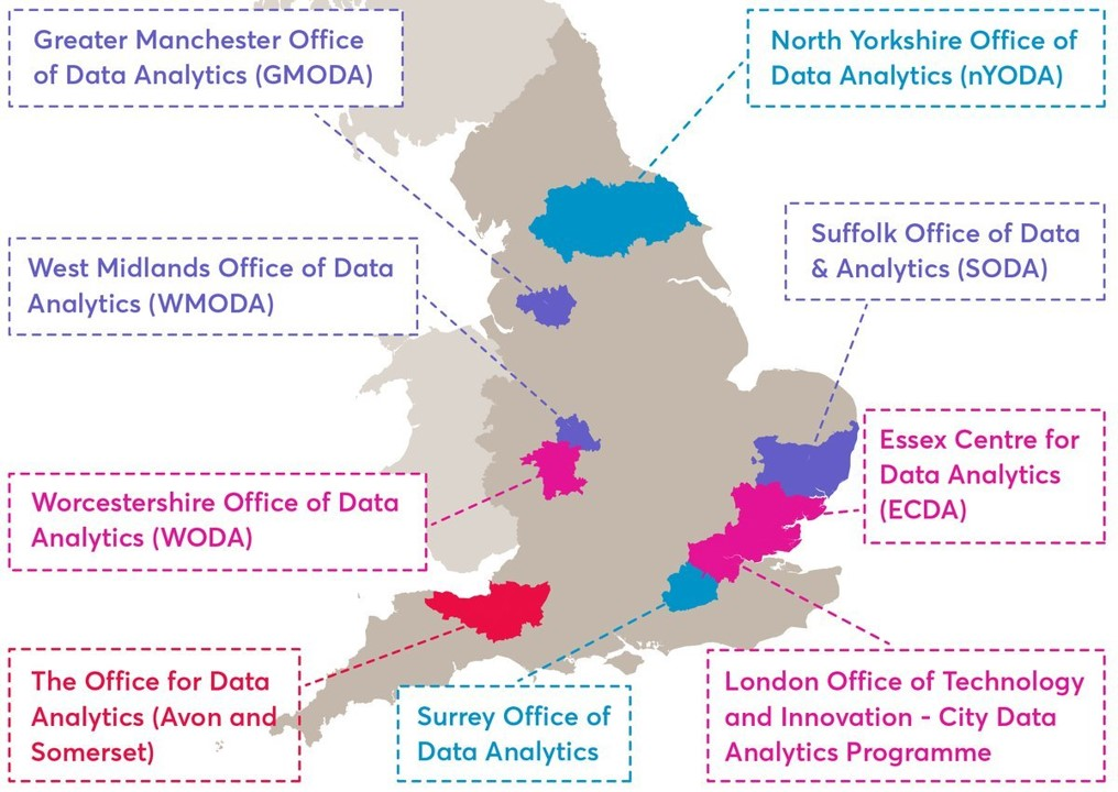 Map showing the locations of 10 offices of data analytics in the UK